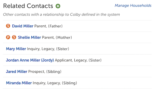 Image of the Related Contacts section of the contact record.