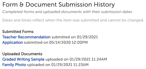 Image of the Form & Document Submission History section of the contact record.