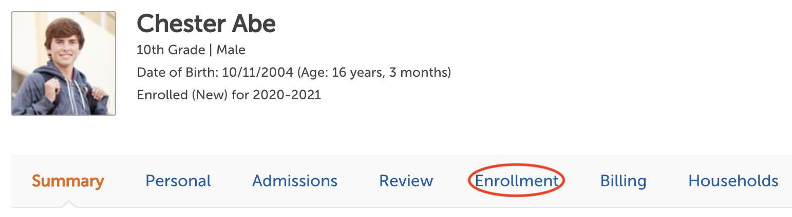 Image of a Contact Record header with the Enrollment tab highlighted.