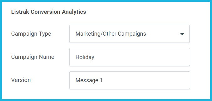 Listrak Conversion Analytics in Email Authoring Page