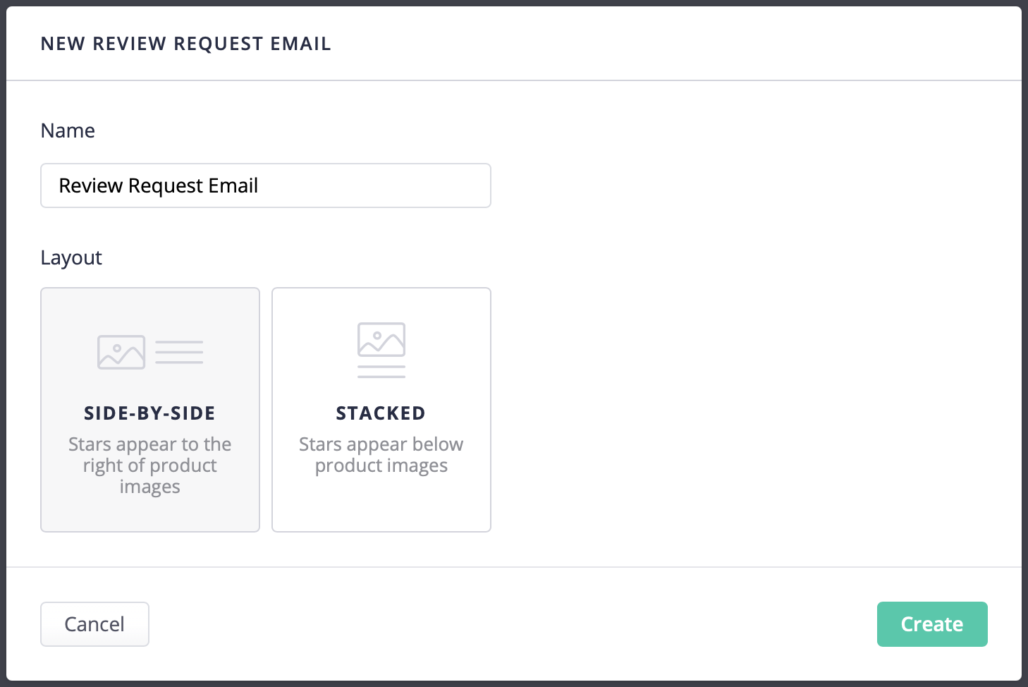 Choosing an email layout from the new email dialog