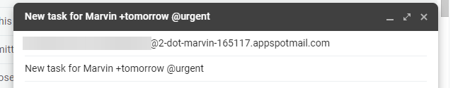 Adding a task scheduled for tomorrow using Email to Marvin