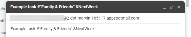 Adding a task planned for next week using Email to Marvin