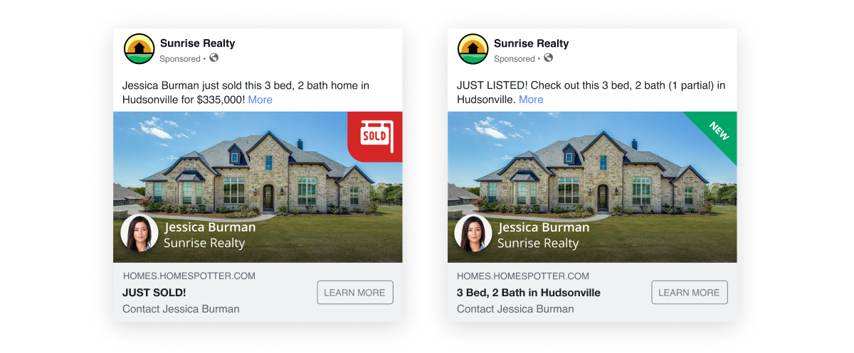 Two social media Boost ads