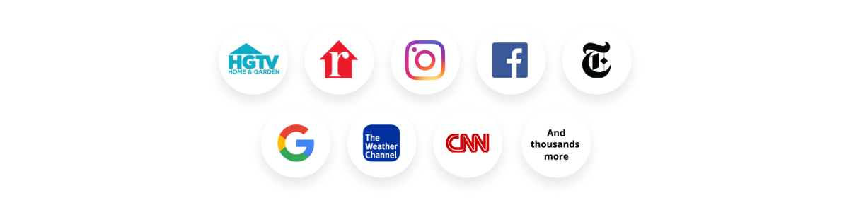 Logos of websites where Boost ads can appear