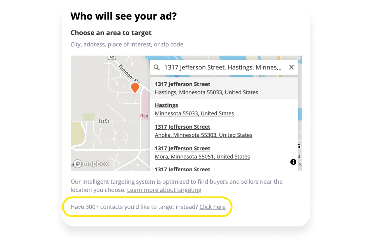 Screenshot of a map showing who will see your ad