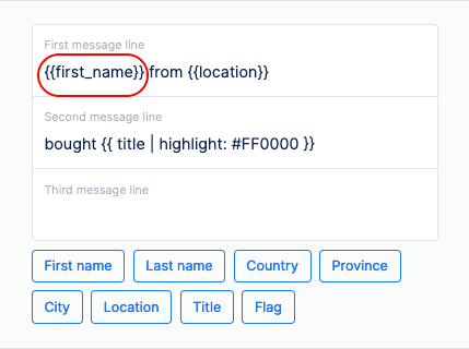 add filters to social proof notifications