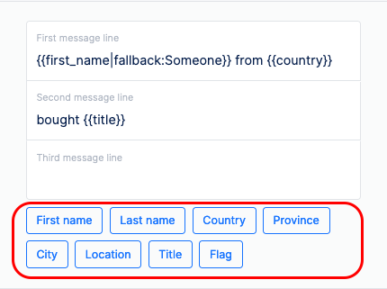 add tags to social proof notifications