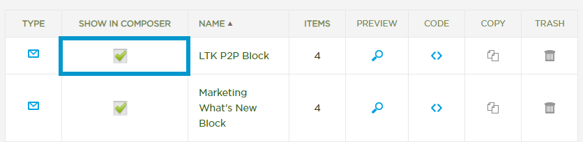 Merchandise Block Editor with Show in Composer Checkbox Highlighted