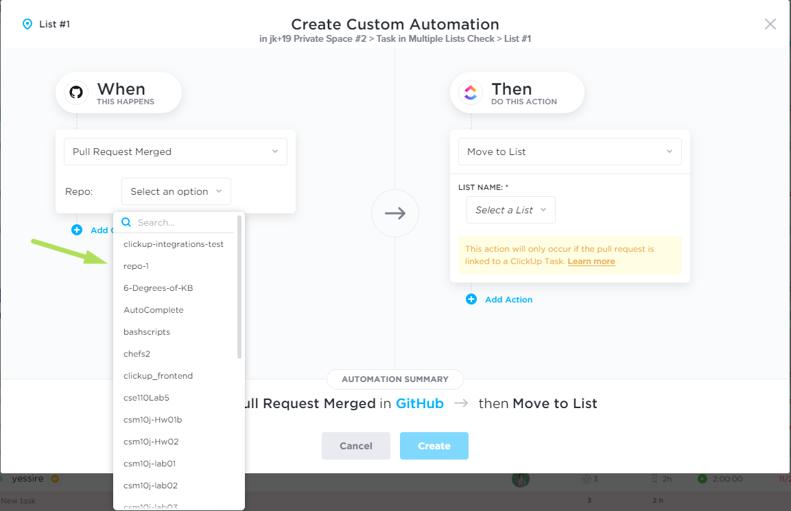 Choosing a repo from the Repo drop down menu on the Create Custom Automation screen