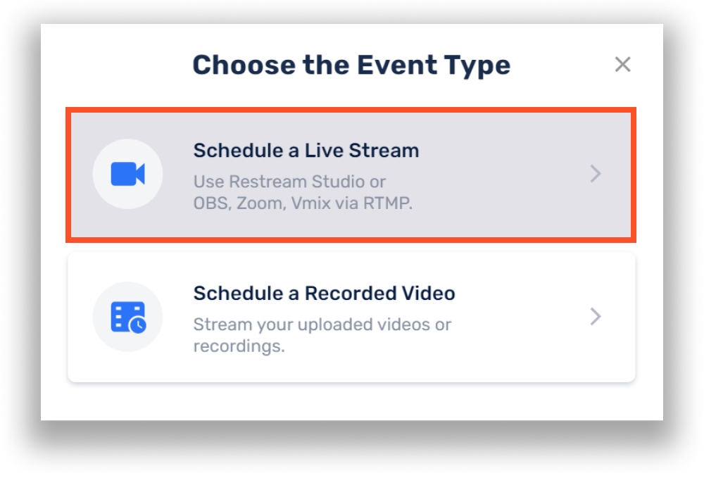 Schedule live stream with Restream Events