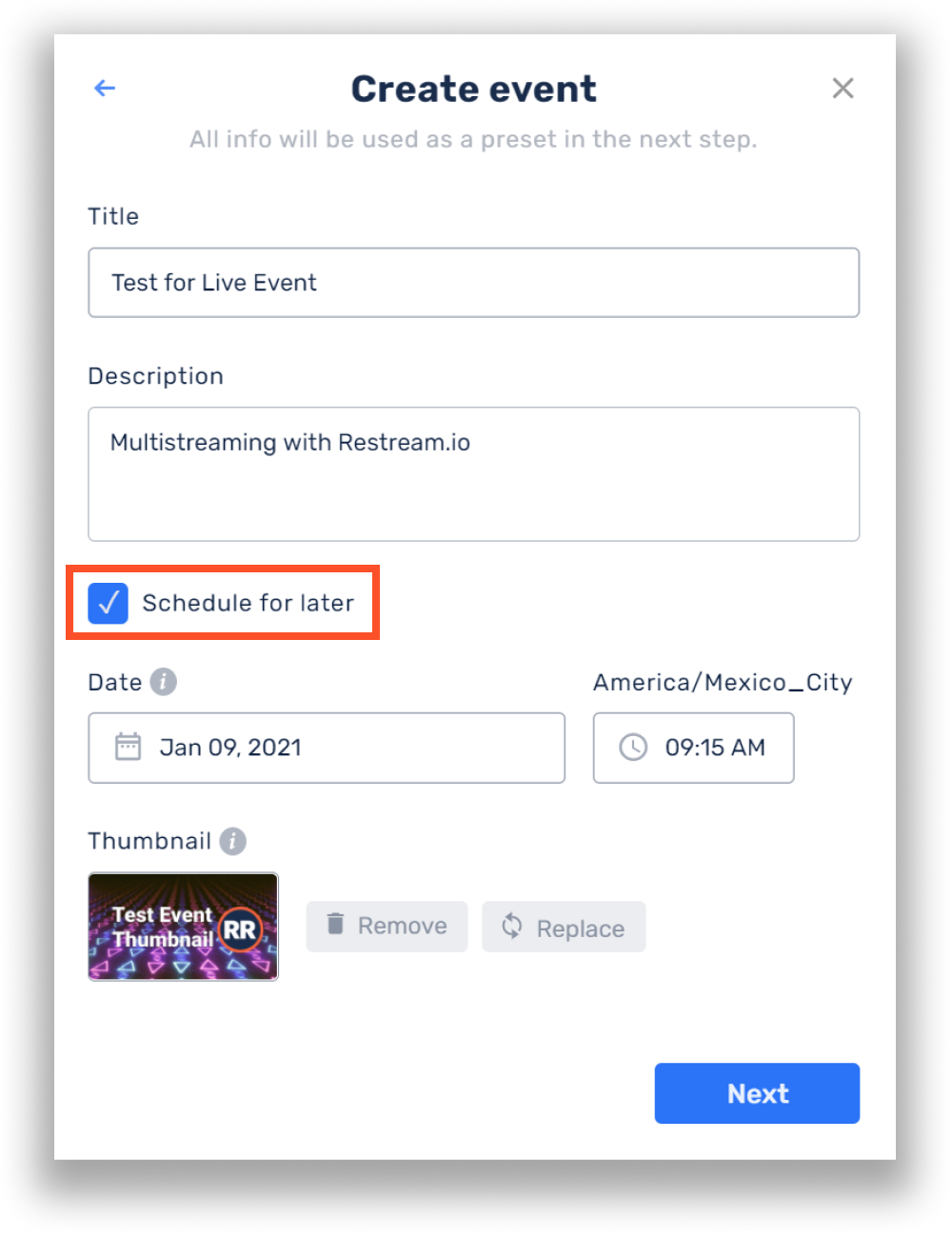 Create live stream event with Restream Events