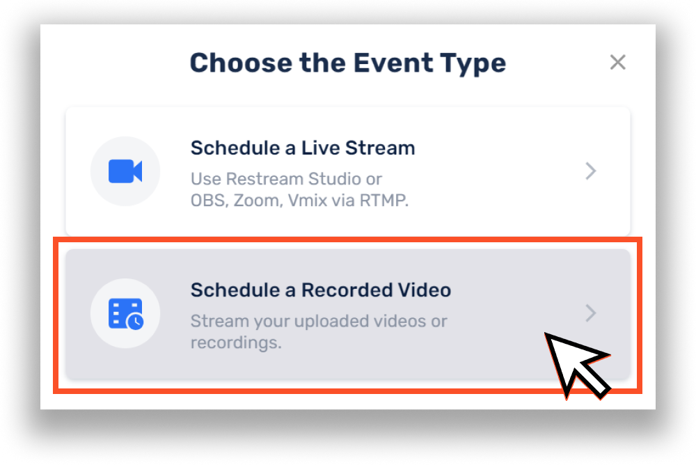 Choose the Event Type