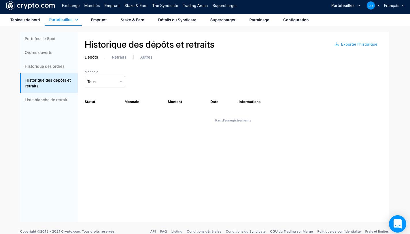 Trouver et télécharger son historique de transactions Crypto.com