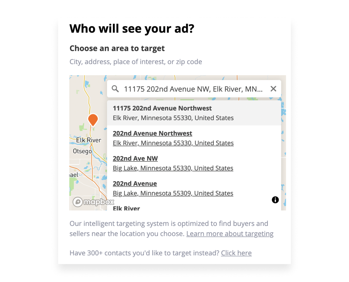 Screenshot of address geo-targeting and map