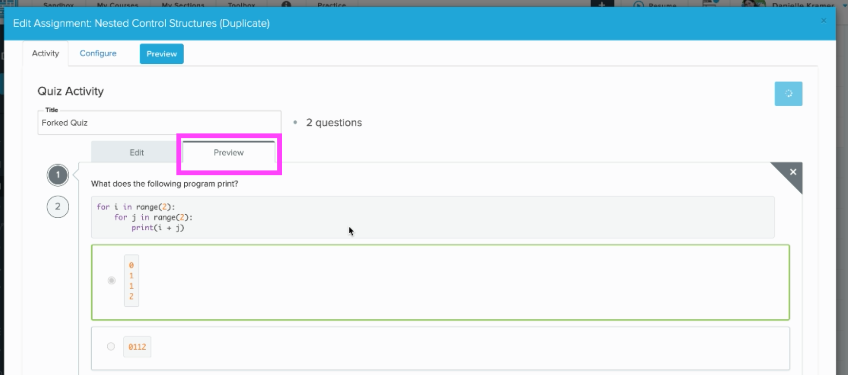 box highlights preview tab in the quiz activity editor