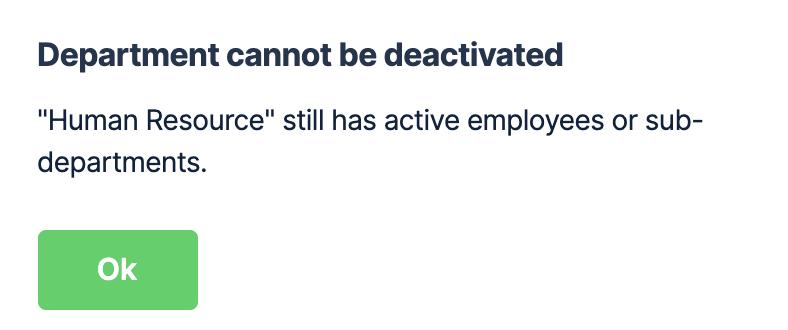 Error when deactivating a department