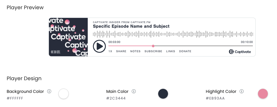 A screenshot of the colour palette options for the Captivate embeddable podcast player.