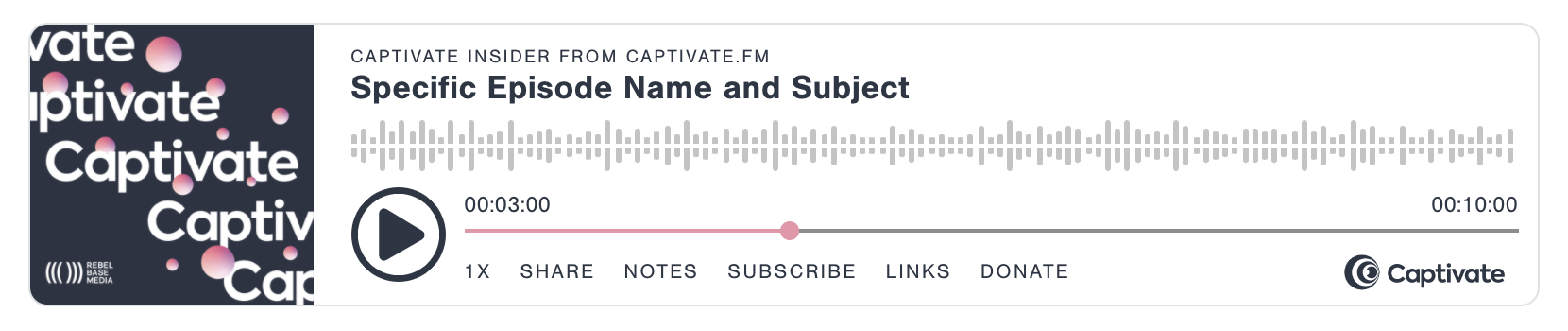 A screenshot of Captivate's embeddable podcast player