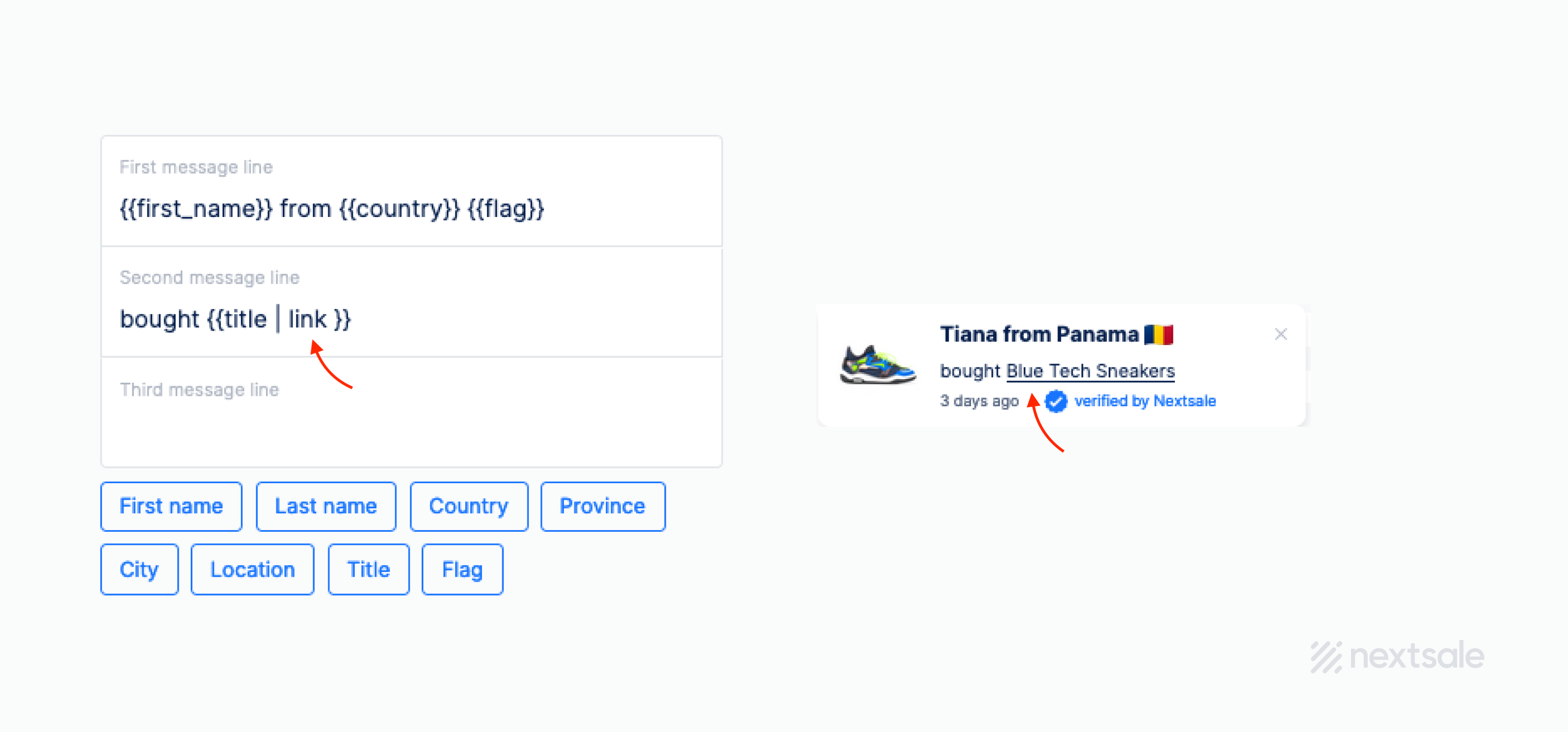 add link to social proof notification