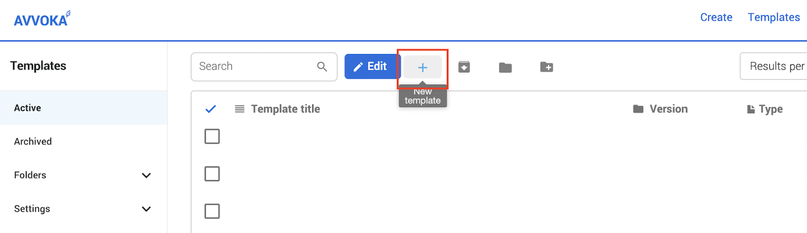 Create a new template from the templates screen