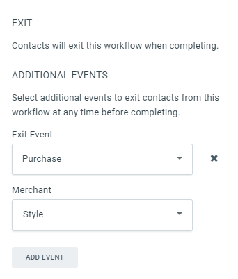 Example Exit Event Properties that removes a purchaser