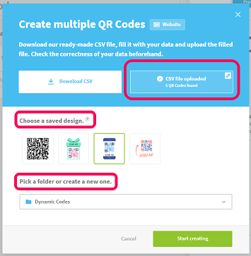 Example of where to upload a CSV file, choose a QR Code design, and folder