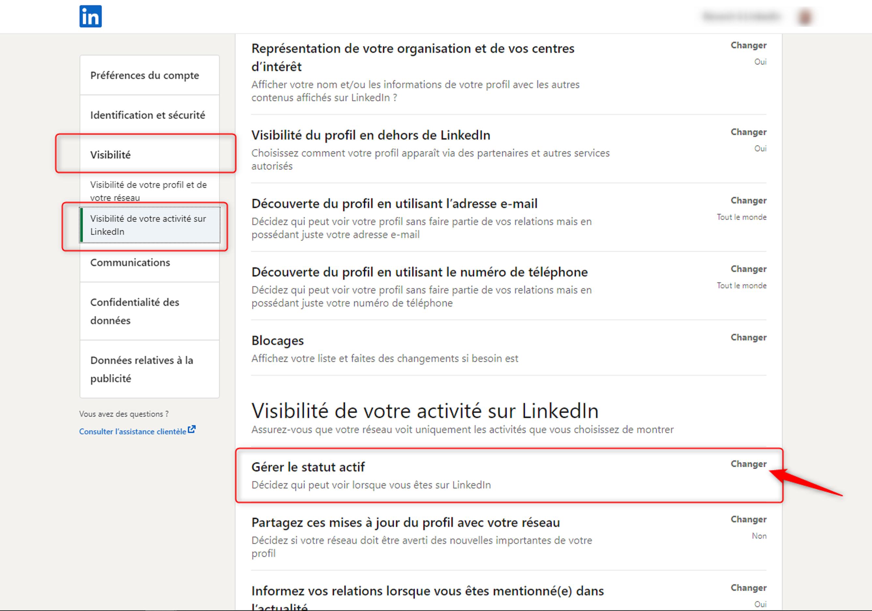Activer le statut actif LinkedIn