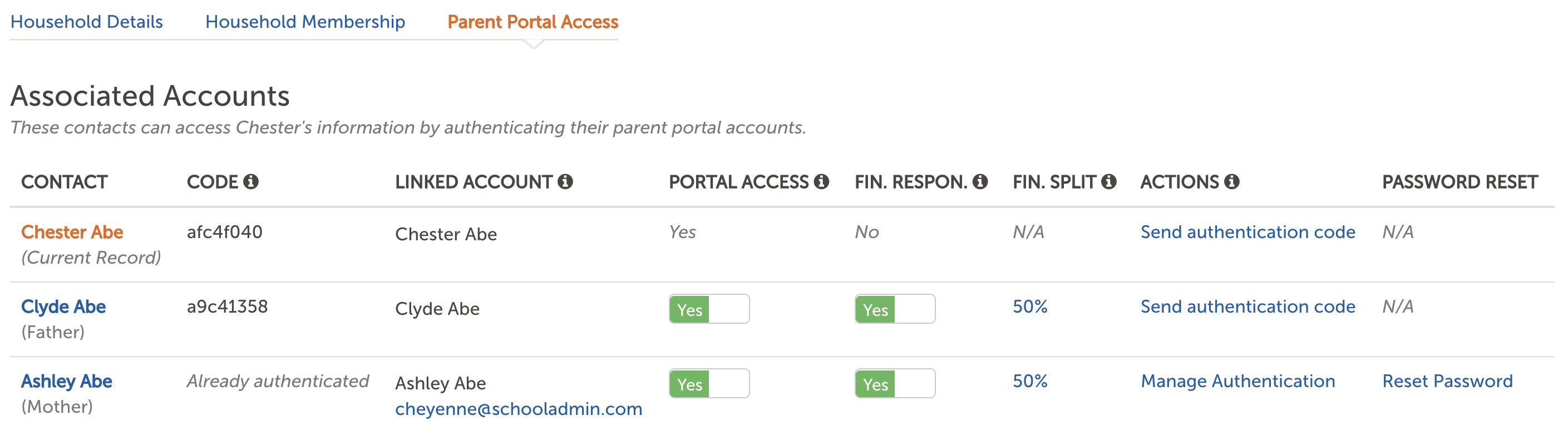 Image of the Parent Portal Access - Associated Accounts section of the contact record.