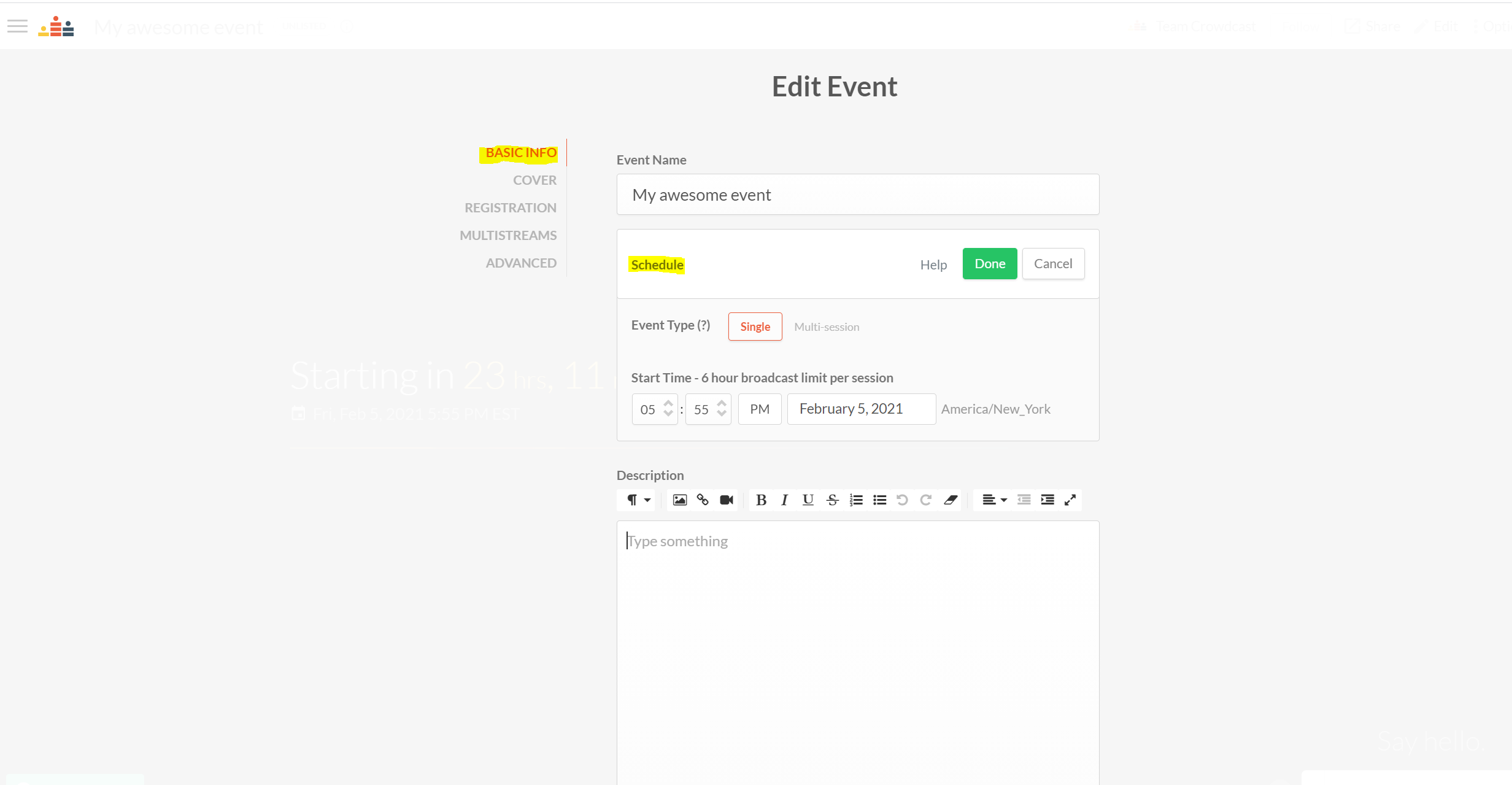 The edit event interface with the schedule event section circled