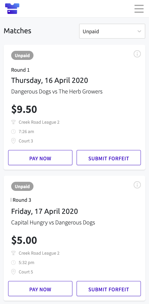 Screenshot of the matches page in Teammo, where you can see all paid/unpaid games