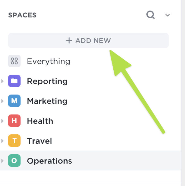 Click Add New to add a Space!