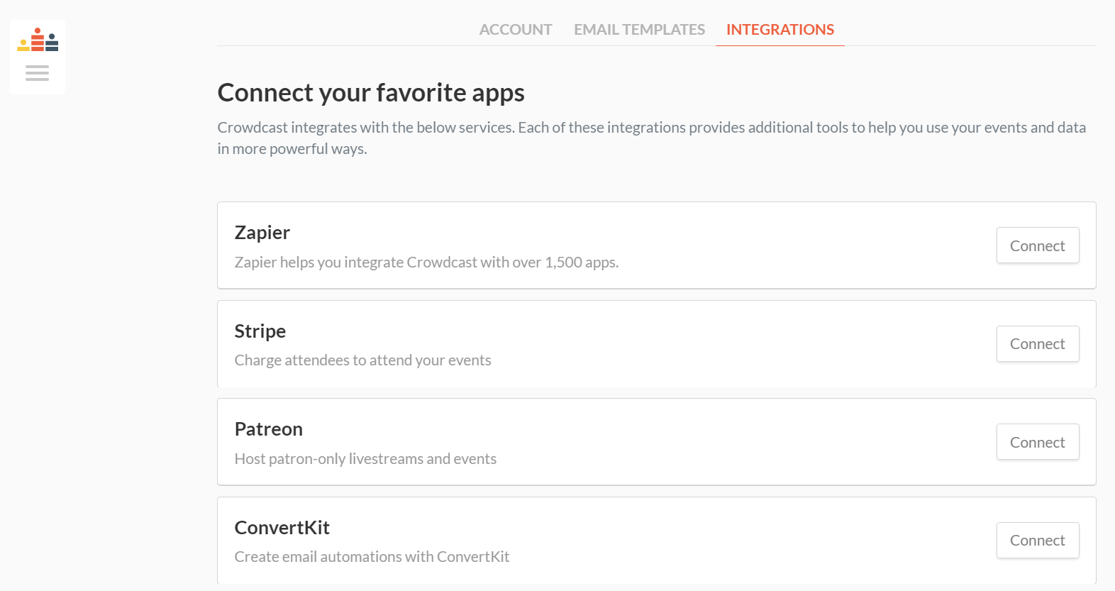 A screenshot of the integrations page on crowdcast