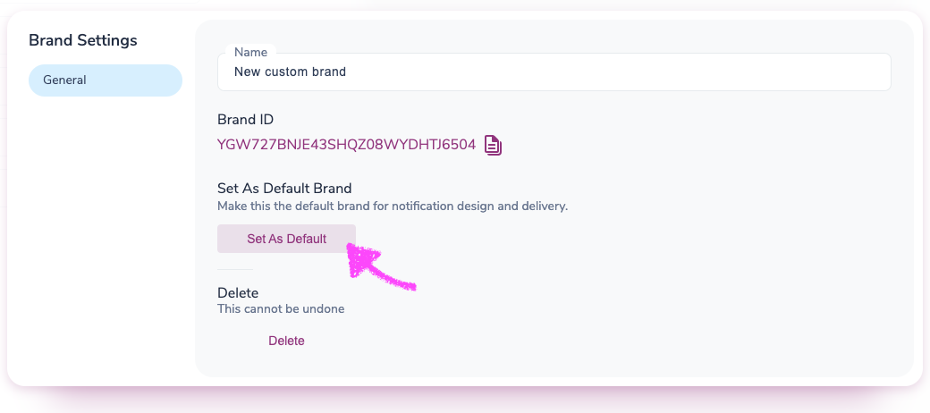 Setting a custom brand as the default in the brand settings