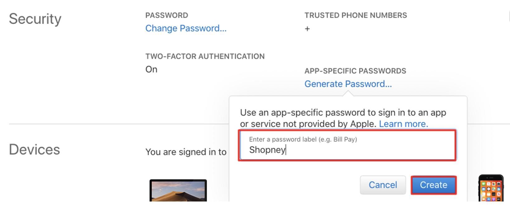 apple developer account app specific password