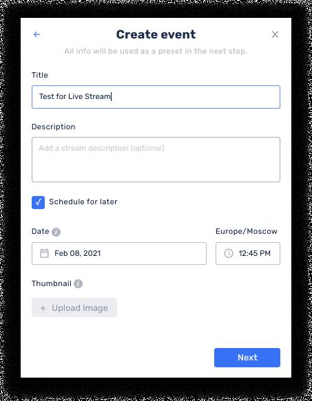 Create a live stream event in Restream Events