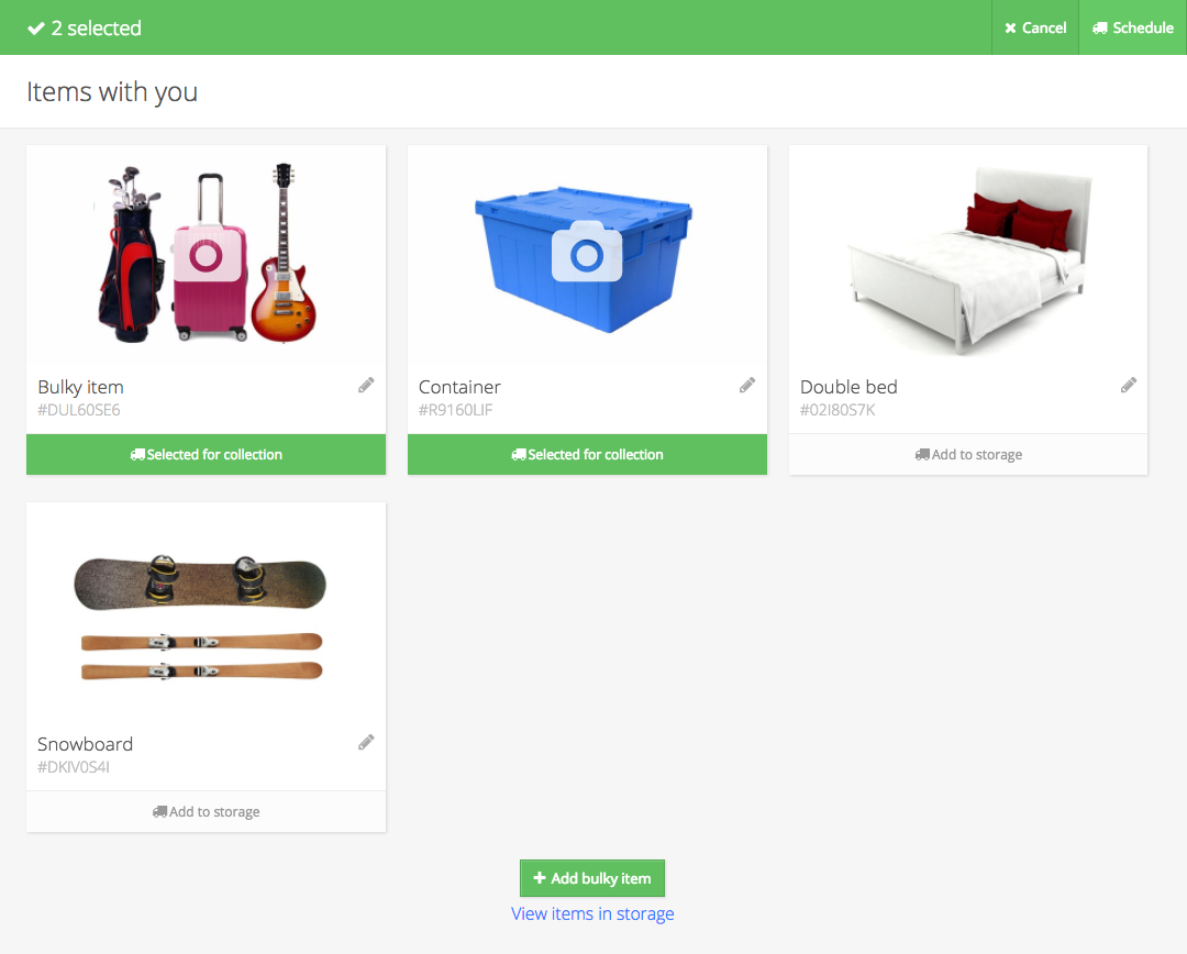 Valet Customer App: Items selected for collection