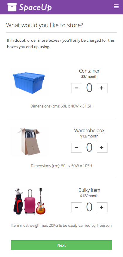 Creating a valet order