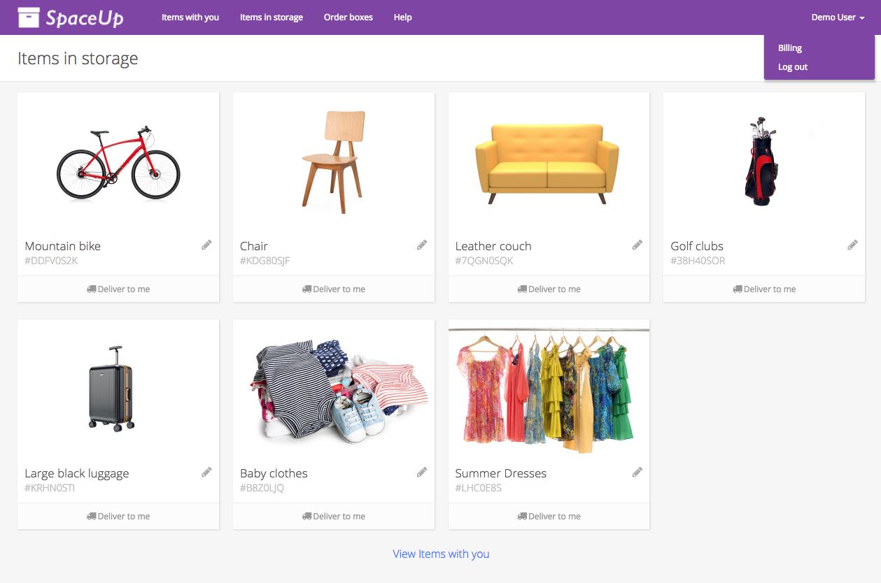 Valet Customer App: Items in storage