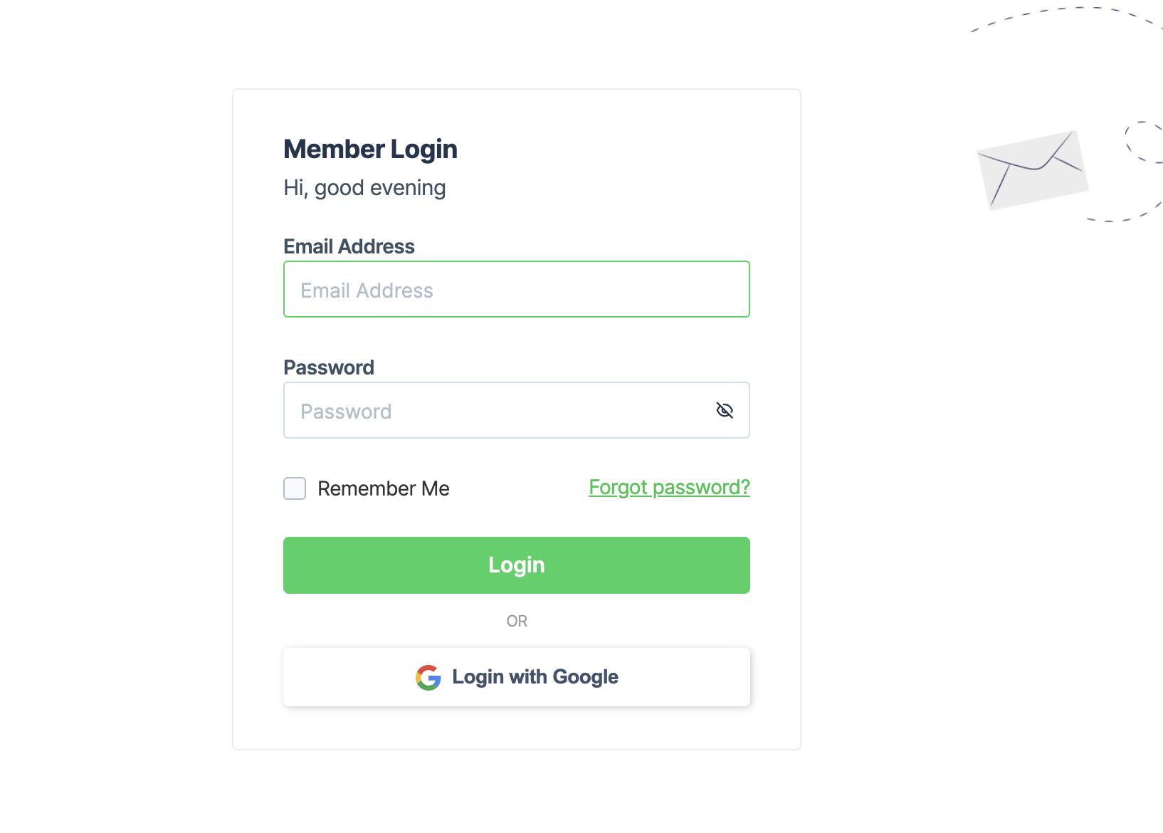 Reset password on web version