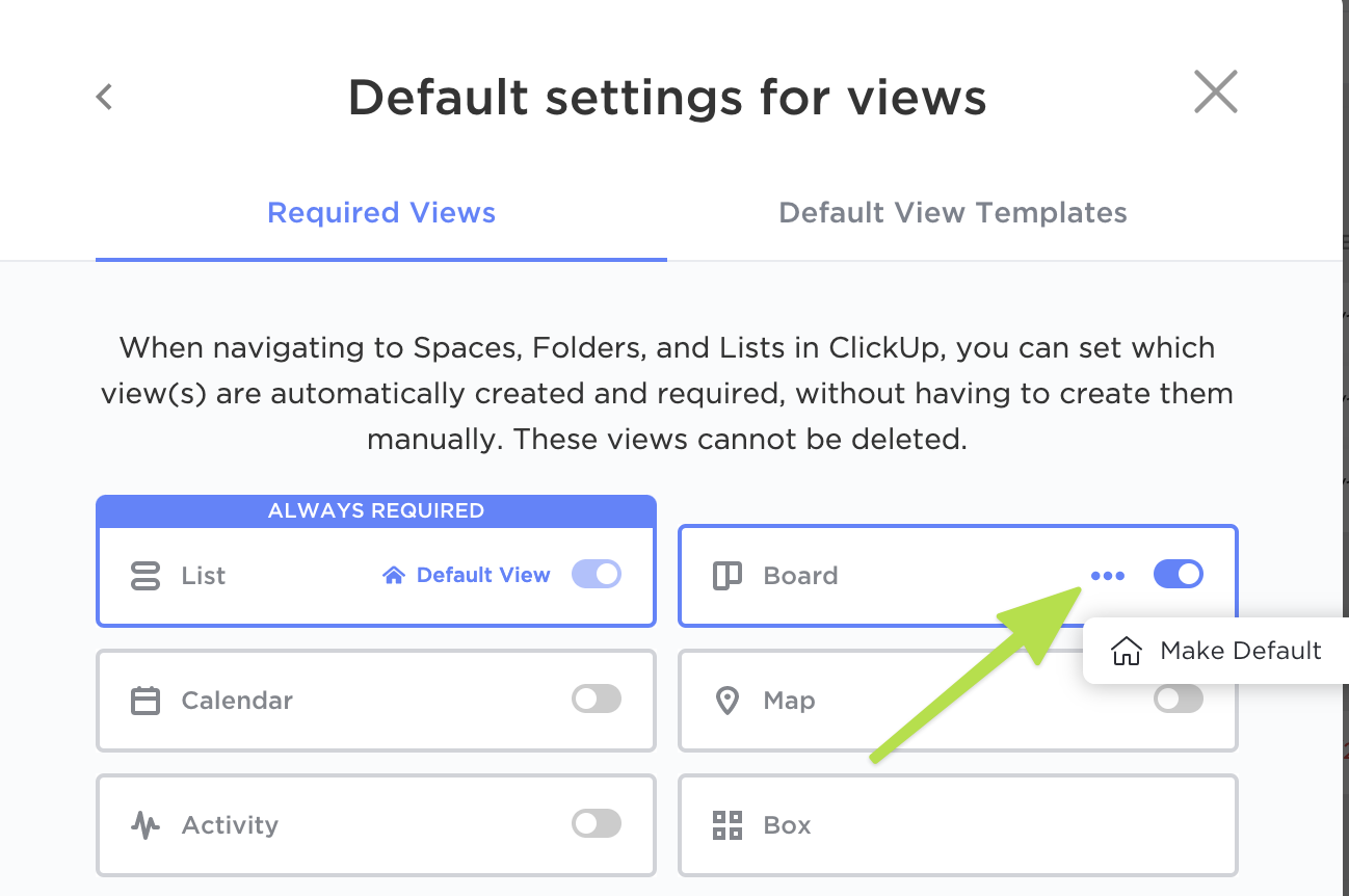 Make any view your default!