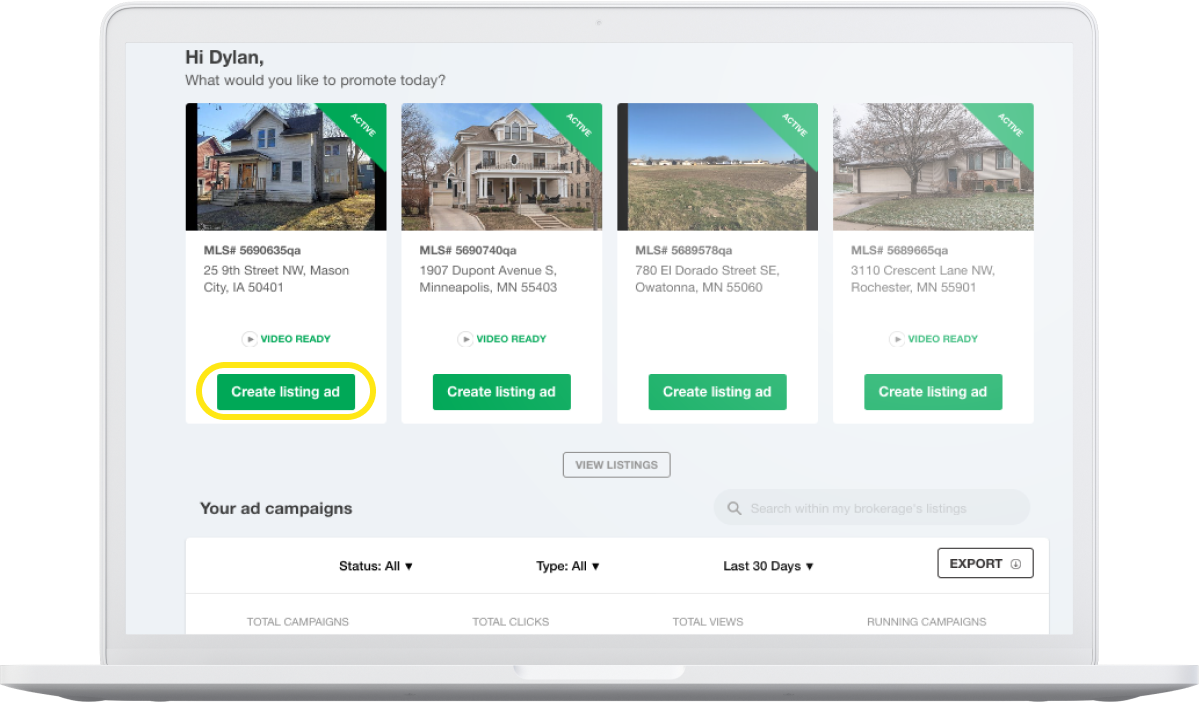 Dashboard with create listing ad button selected