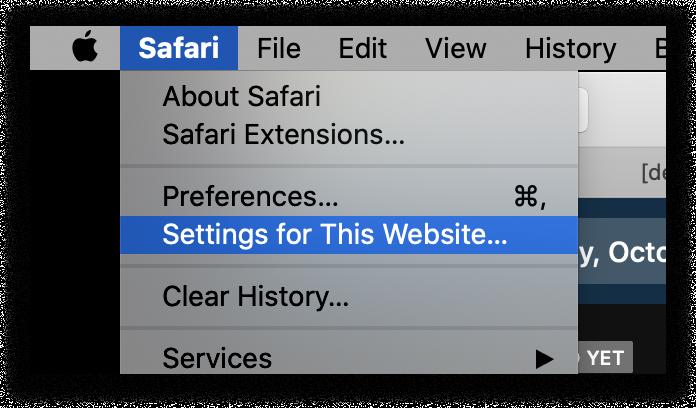 Safari Settings for this website