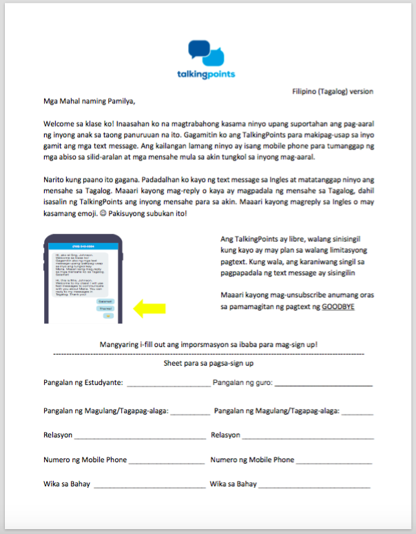 Parent Letter / Contact Information form - Filipino (Tagalog ...