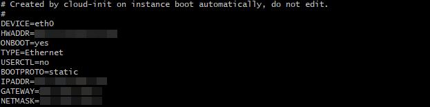 Server terminal displaying network interface file.