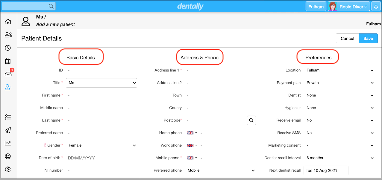 Dentally Patient Details screen showing Basic details, Address & phone and Preferences