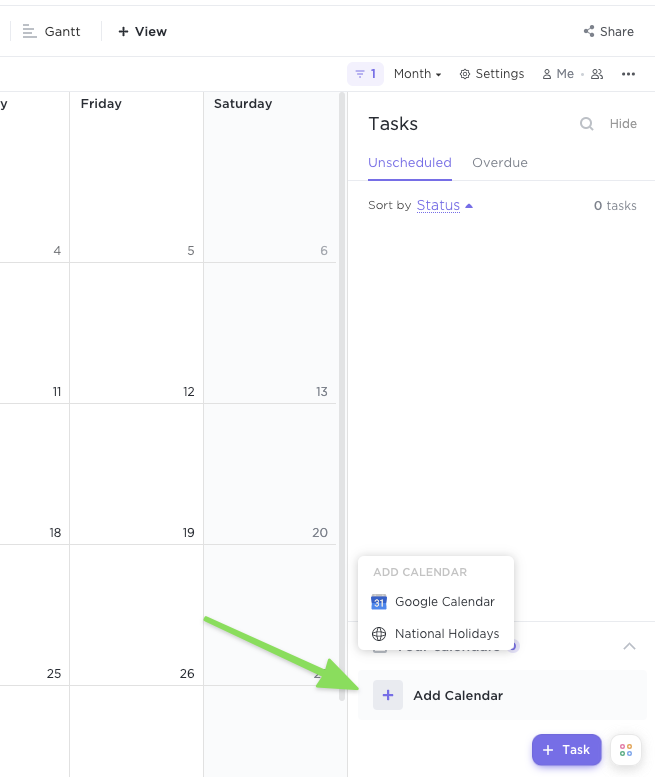 Open Calendar view sidebar with arrow pointing to Add Calendar option at the bottom