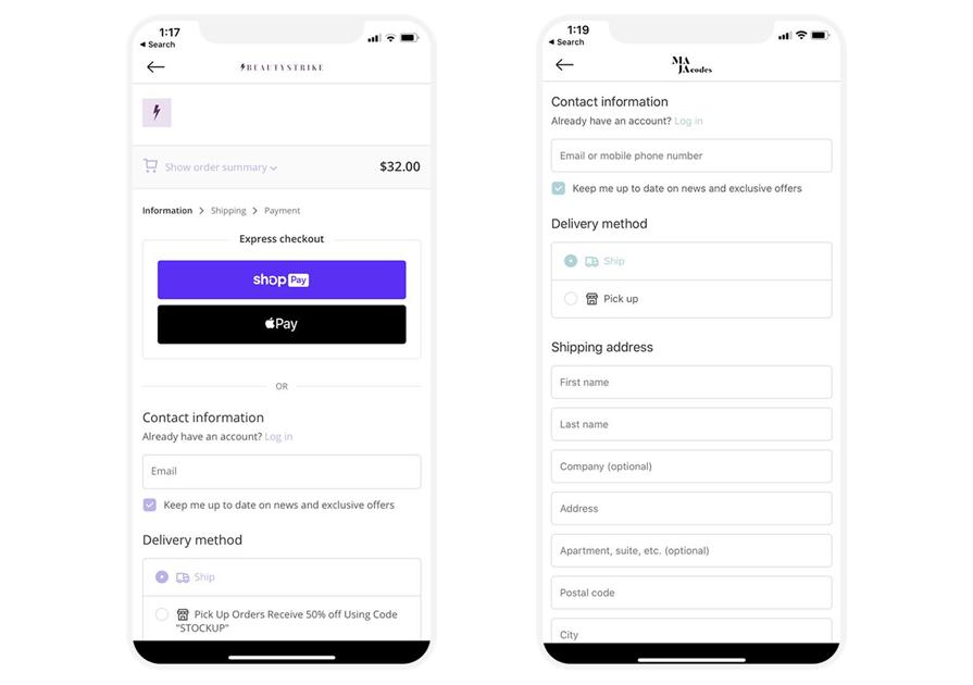 shopify checkout on mobile app shopney