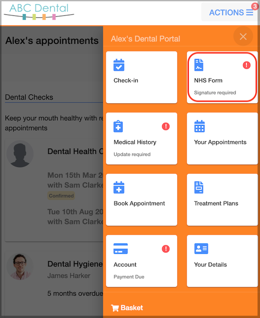 Dentally Patient Portal - NHS form in Action list
