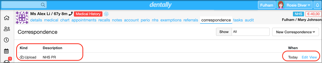 Dentally Patient Correspondence tab - NHS PR form uploaded - edit and view